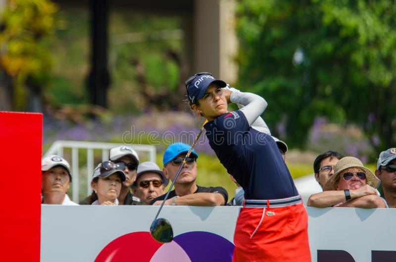 西班牙的Azahara Munoz在本田LPGA泰国中2016年 库存照片