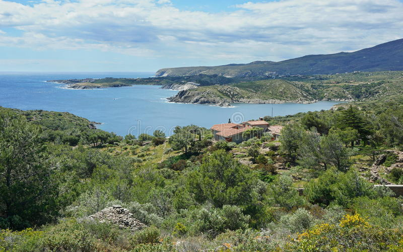 西班牙肋前缘Brava沿海风景Cap de Creus 免版税库存照片