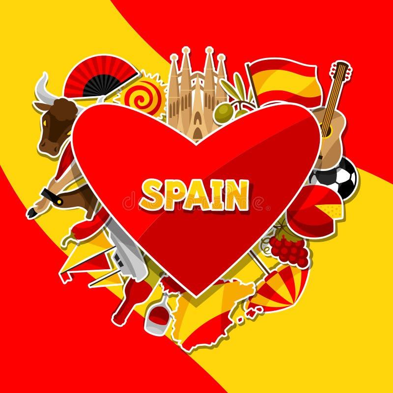 西班牙背景设计 西班牙传统贴纸标志和对象 皇族释放例证
