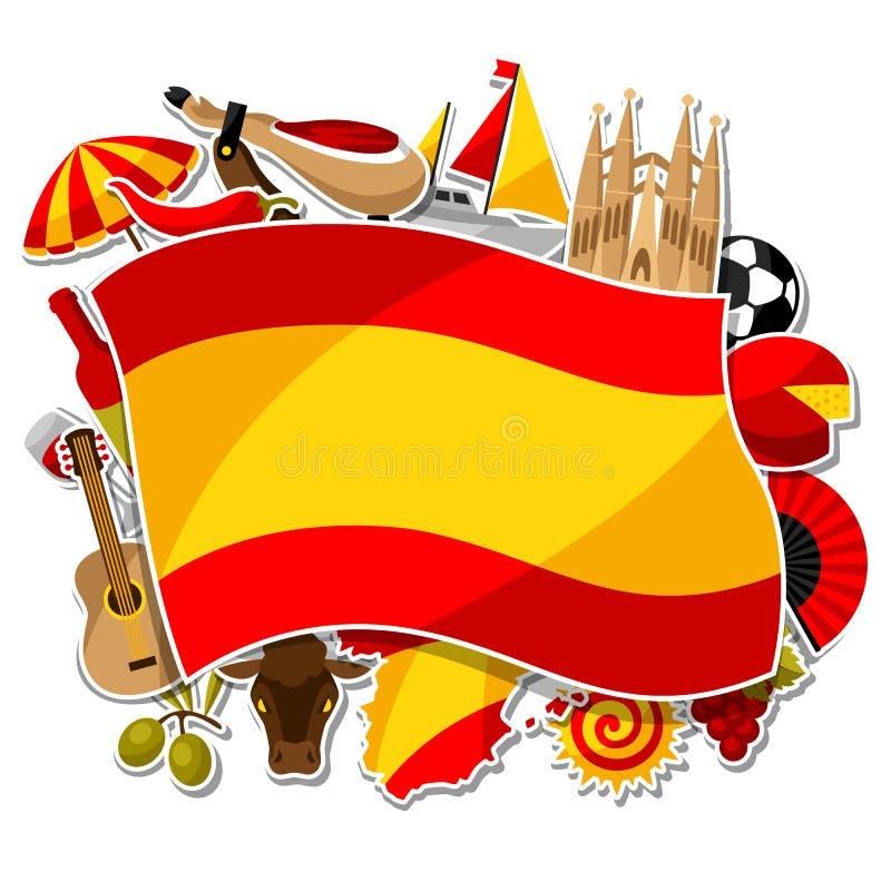 西班牙背景设计 西班牙传统贴纸标志和对象 库存例证