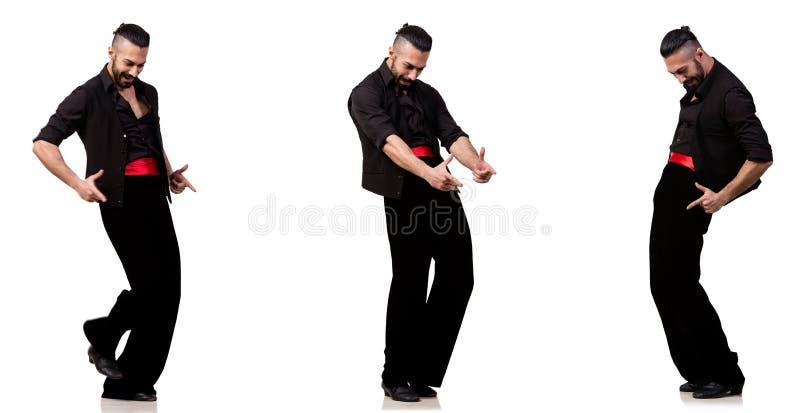 西班牙舞蹈家以在白色的各种各样的姿势 库存照片