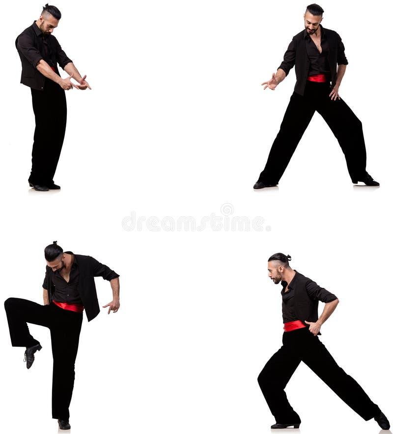 西班牙舞蹈家以在白色的各种各样的姿势 免版税库存图片