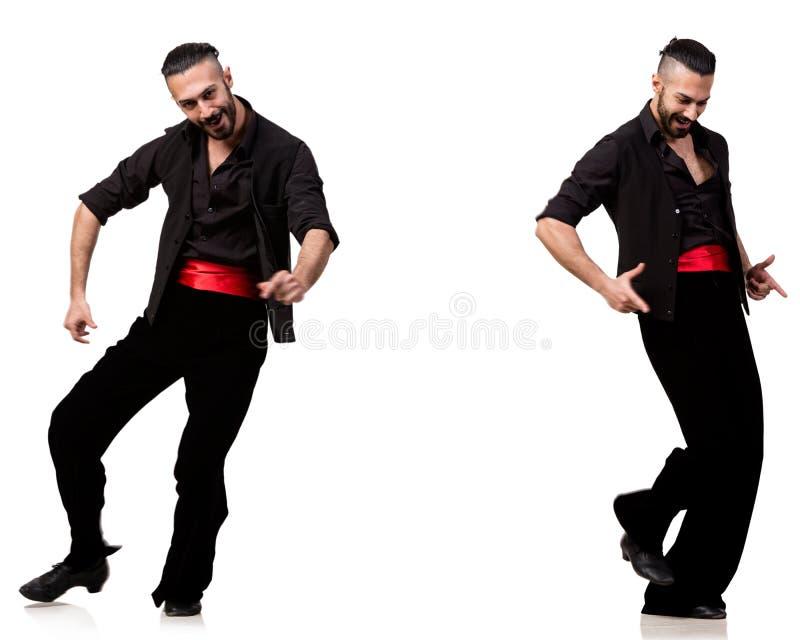 西班牙舞蹈家以在白色的各种各样的姿势 免版税图库摄影