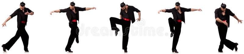 西班牙舞蹈家以在白色的各种各样的姿势 免版税库存照片