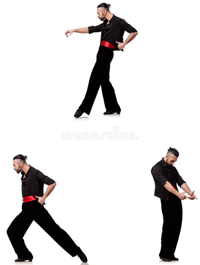 西班牙舞蹈家以在白色的各种各样的姿势 图库摄影