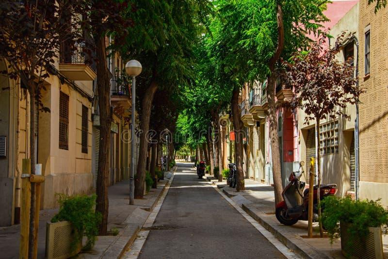 西班牙街道巴塞罗那 库存照片