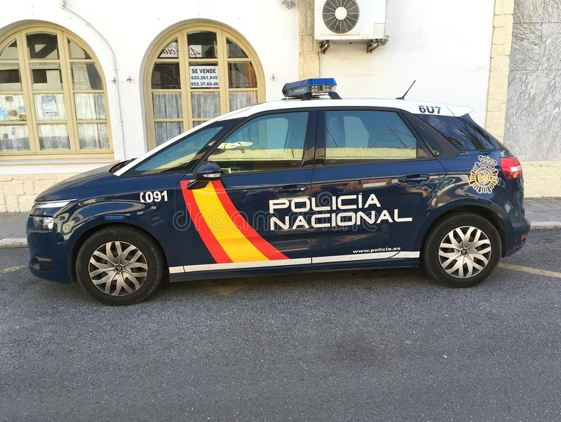 西班牙警察车的雪铁龙c4 库存照片