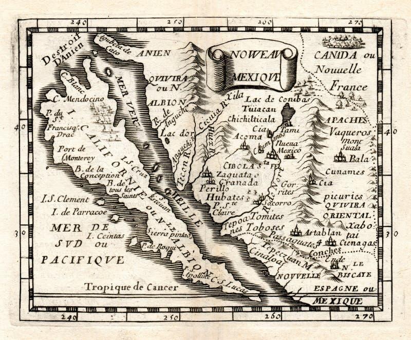 1663西班牙语新墨西哥和加利福尼亚海岛Duval地图  向量例证