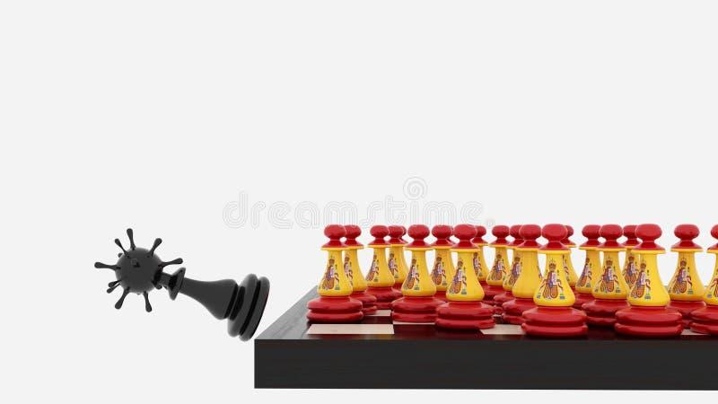 西班牙象棋棋子与病毒概念 向量例证