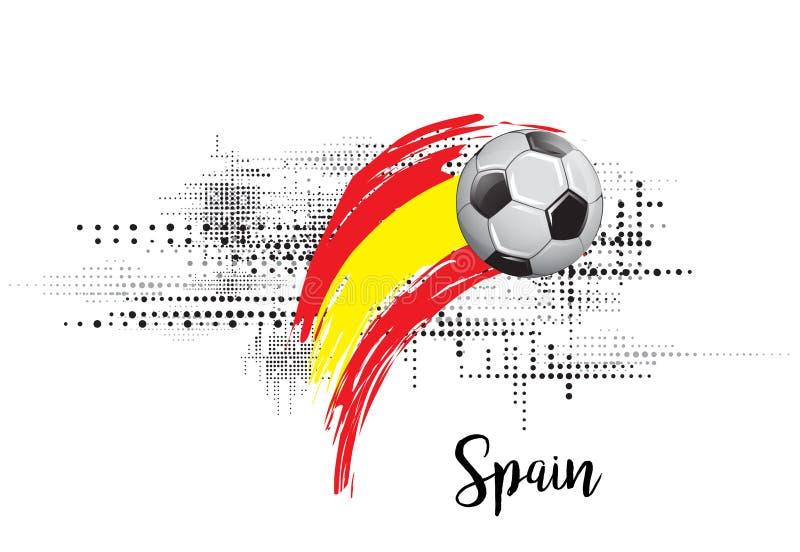 西班牙足球国家旗子 橄榄球队模板例证 被绘的艺术和小点难看的东西背景 皇族释放例证