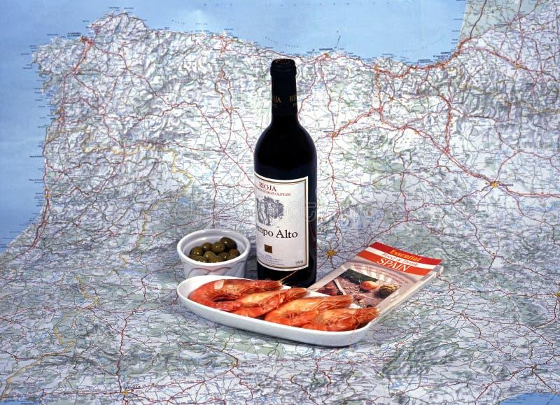 西班牙酒和塔帕纤维布 库存图片