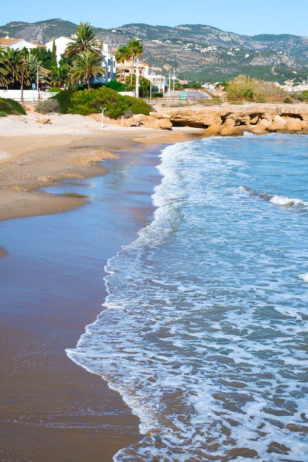 西班牙阿尔科塞布雷的Playa del Moro海滩 免版税库存照片