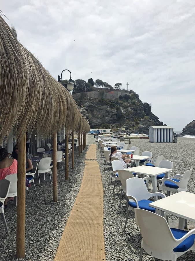 西班牙阿尔穆内卡尔Playa San Cristobal海滩餐厅 库存图片