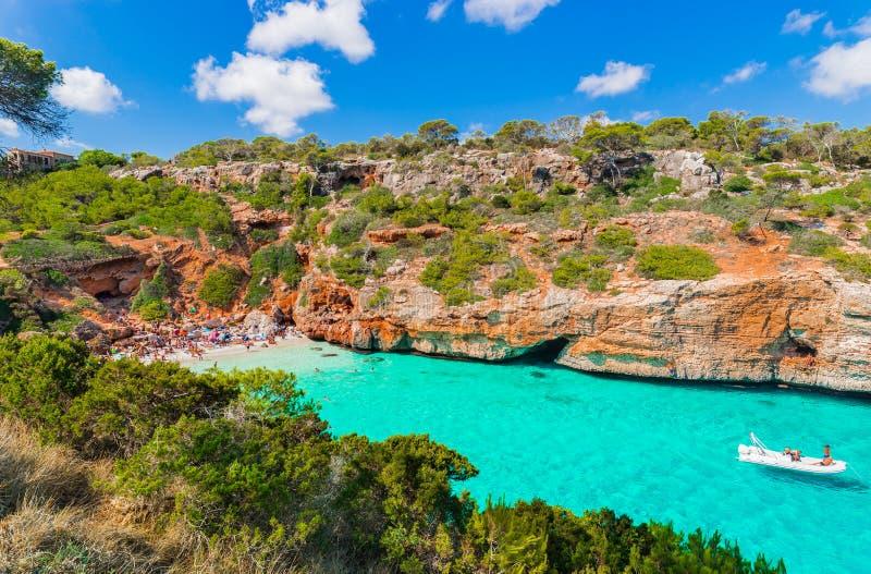 西班牙马略卡海滩Cala des莫罗,地中海,巴利阿里群岛 库存照片