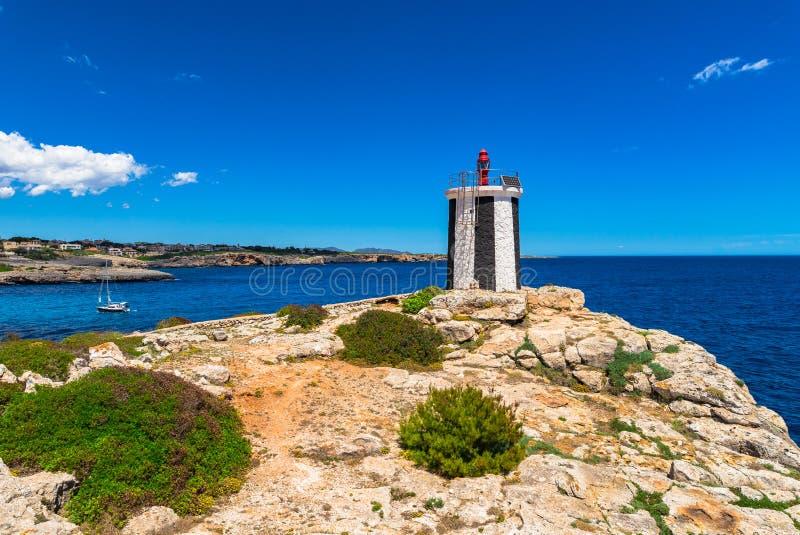 西班牙马略卡灯塔在波尔图克里斯多 库存照片