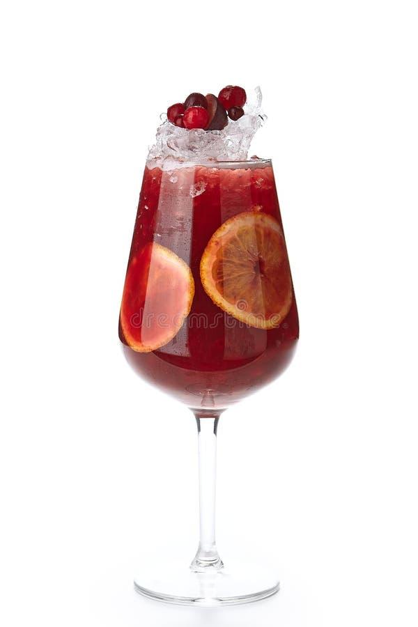 西班牙黑莓、蔓越桔和被隔绝的果子桑格里酒 免版税图库摄影