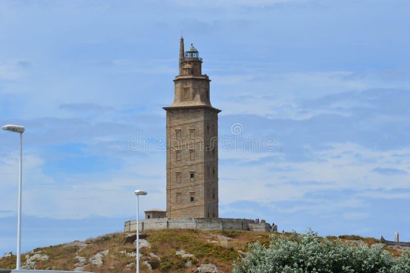 西班牙,加利西亚,拉科鲁尼亚队,赫拉克勒斯塔灯塔 免版税库存图片