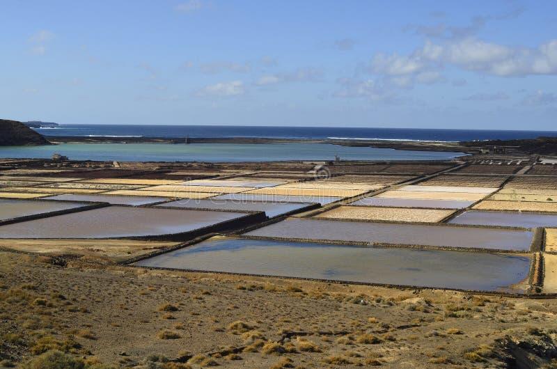 西班牙,加那利群岛,兰萨罗特岛海岛,盐舱内甲板 免版税库存照片