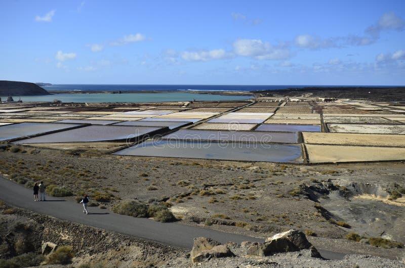 西班牙,加那利群岛,兰萨罗特岛海岛,盐舱内甲板 免版税图库摄影