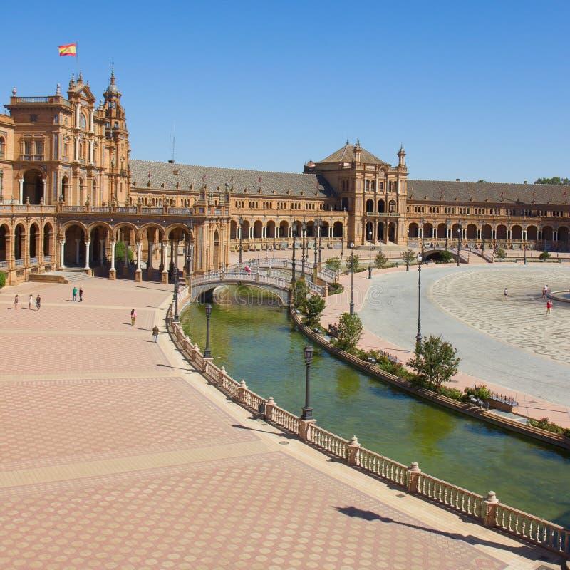 西班牙,塞维利亚,西班牙的正方形看法  免版税库存照片