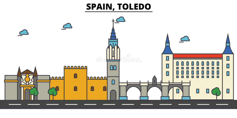 西班牙,托莱多 城市地平线建筑学 编辑可能 库存例证