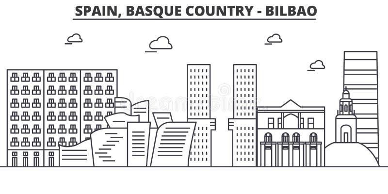 西班牙,毕尔巴鄂,巴斯克地区建筑学线地平线例证 与著名地标的线性传染媒介都市风景 向量例证