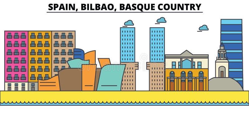 西班牙,毕尔巴鄂,巴斯克地区 城市地平线建筑学 皇族释放例证