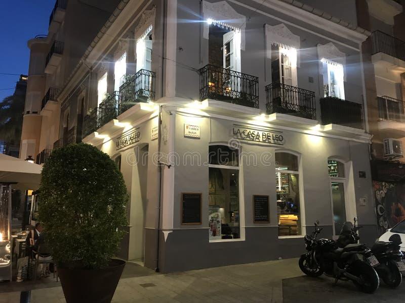 西班牙,阿利坎特,有启发性装饰的房子,餐馆 免版税库存图片