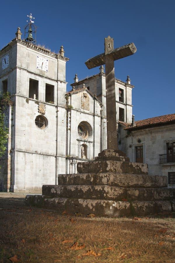 西班牙,阿斯图里亚斯, Cornellana,石十字架 免版税库存照片