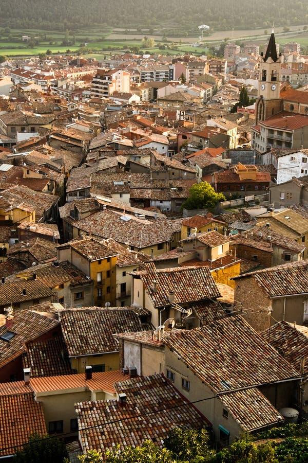 西班牙, Puigcerda的铺磁砖的屋顶 库存图片