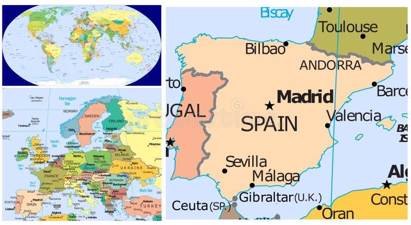 西班牙&世界 向量例证