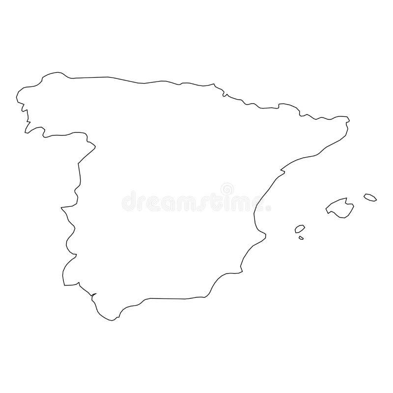 西班牙-国家区域坚实黑概述边界地图  简单的平的传染媒介例证 向量例证
