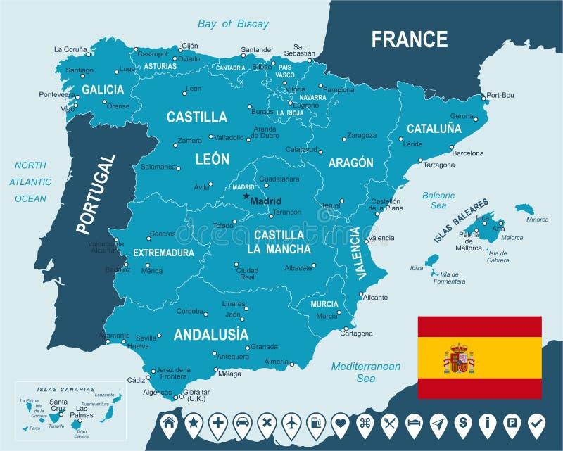 西班牙-地图、旗子和航海标签-例证 库存例证