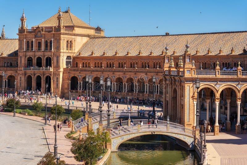 西班牙Square Plaza de西班牙在塞维利亚在一个美好的夏日,西班牙 免版税图库摄影