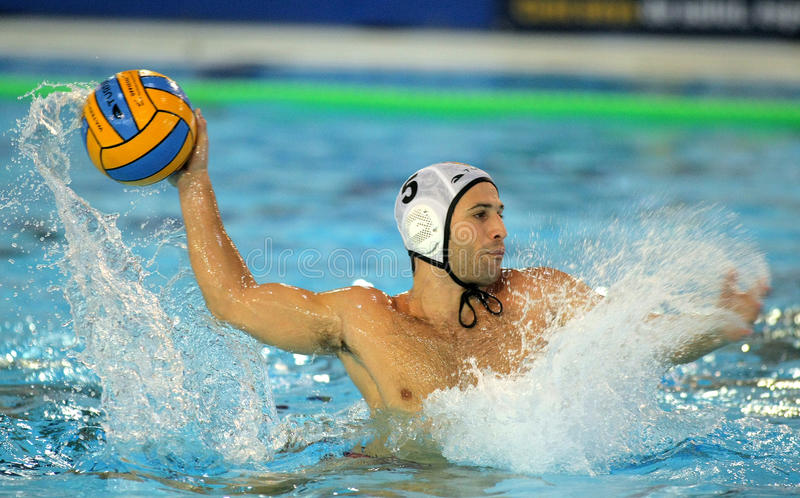 西班牙waterpolo球员奥斯卡Aguilar 免版税库存照片