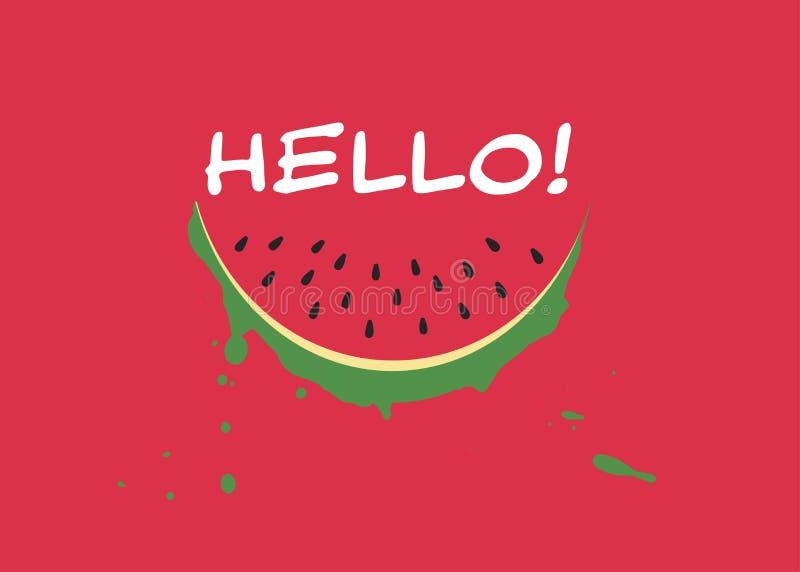 西瓜切片和题字你好在时髦平的样式在红色背景 您的网站设计的夏天标志,商标, app 皇族释放例证