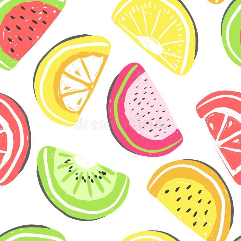 西瓜和异乎寻常的果子无缝的样式 新鲜的西瓜和橙色,热带水果夏天戒毒所 库存例证