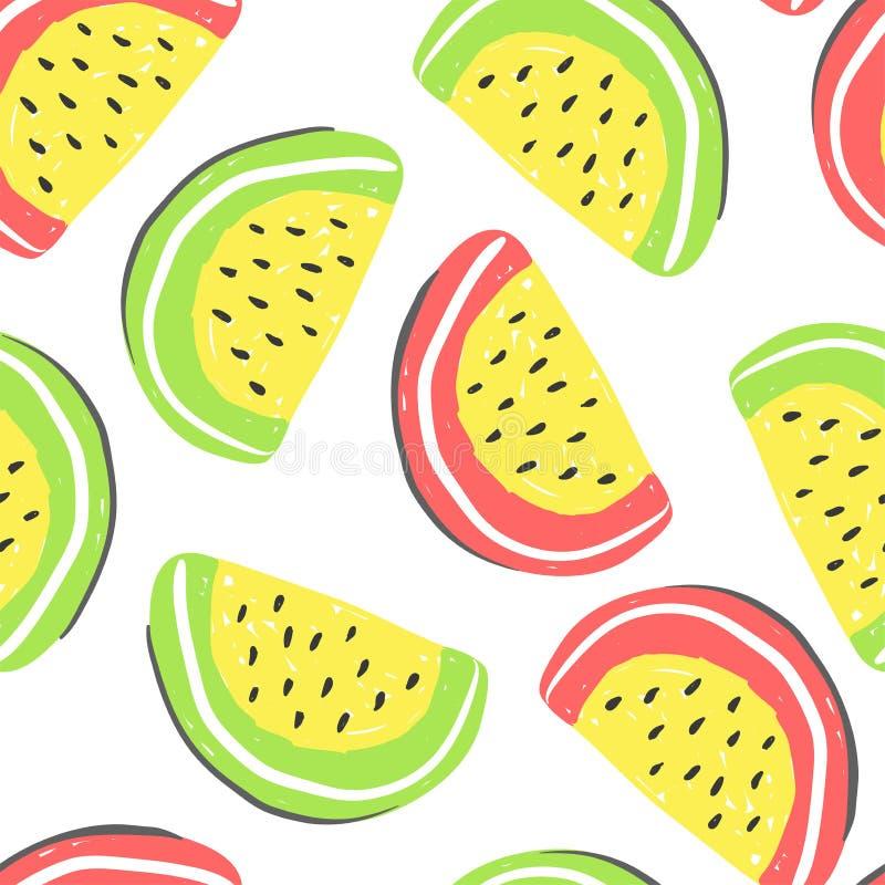 西瓜和异乎寻常的果子无缝的样式 新鲜的西瓜和橙色,热带水果夏天戒毒所 向量例证