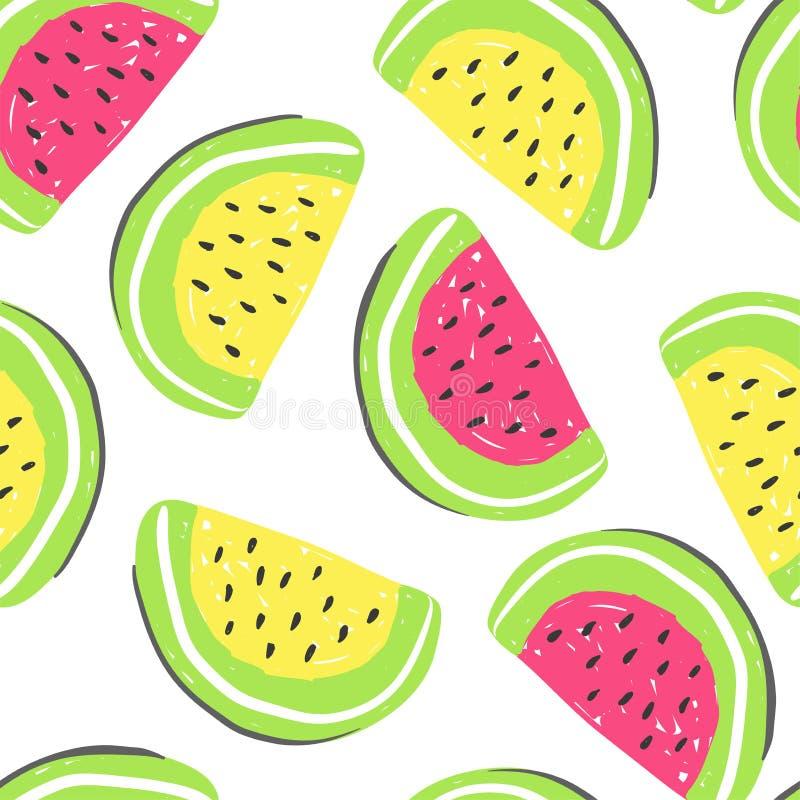 西瓜和异乎寻常的果子无缝的样式 新鲜的西瓜和橙色,热带水果多色夏天的戒毒所 皇族释放例证