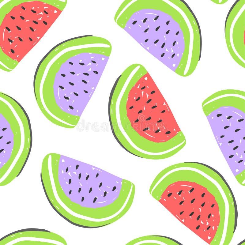 西瓜和异乎寻常的果子无缝的样式 新鲜的rd和紫色西瓜,热带水果夏天戒毒所 库存例证