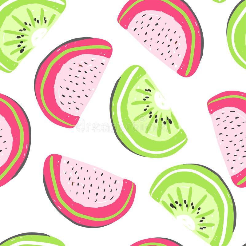 西瓜和猕猴桃异乎寻常的果子无缝的样式 新鲜的pitaya龙果子和猕猴桃,热带水果夏天戒毒所 向量例证
