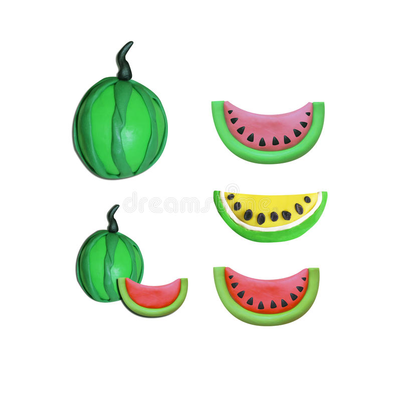 西瓜彩色塑泥黏土桃红色,黄色,红色,西瓜 免版税库存图片