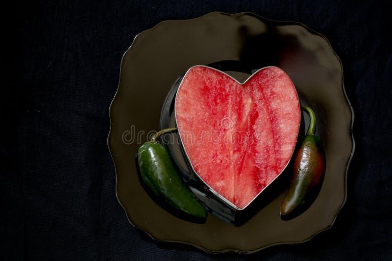 西瓜心脏用胡椒 免版税图库摄影