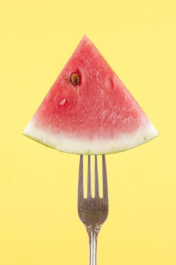 西瓜的概念在叉子的 免版税库存照片