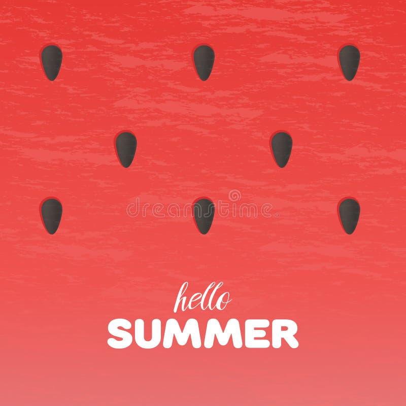 西瓜纹理背景与你好夏天在传染媒介例证上写字 库存例证