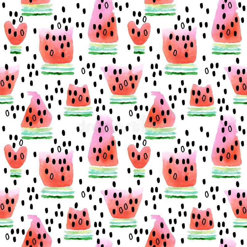 西瓜 无缝的模式用西瓜 西瓜切片水彩例证 库存例证