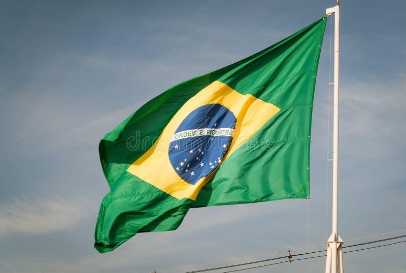巴西的旗子卷扬了 库存照片