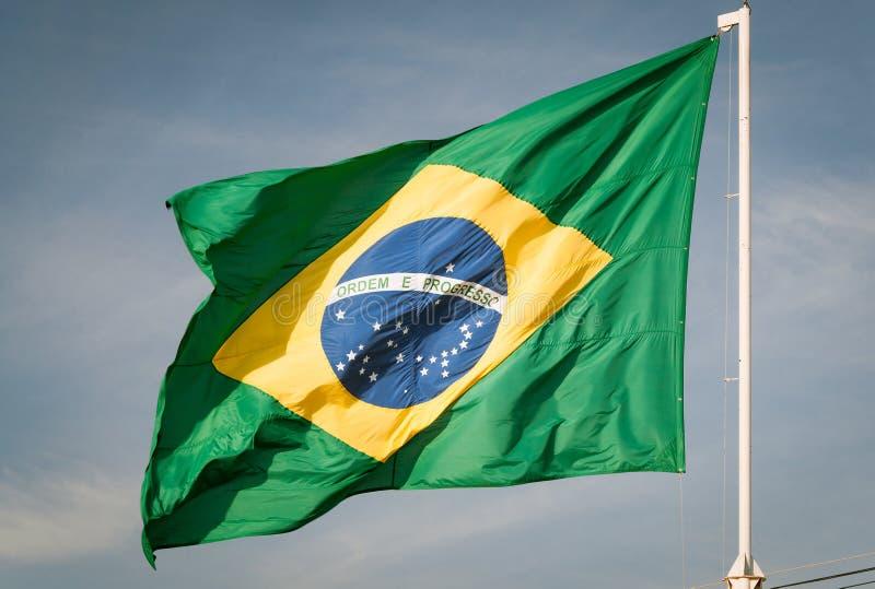巴西的旗子卷扬了 图库摄影