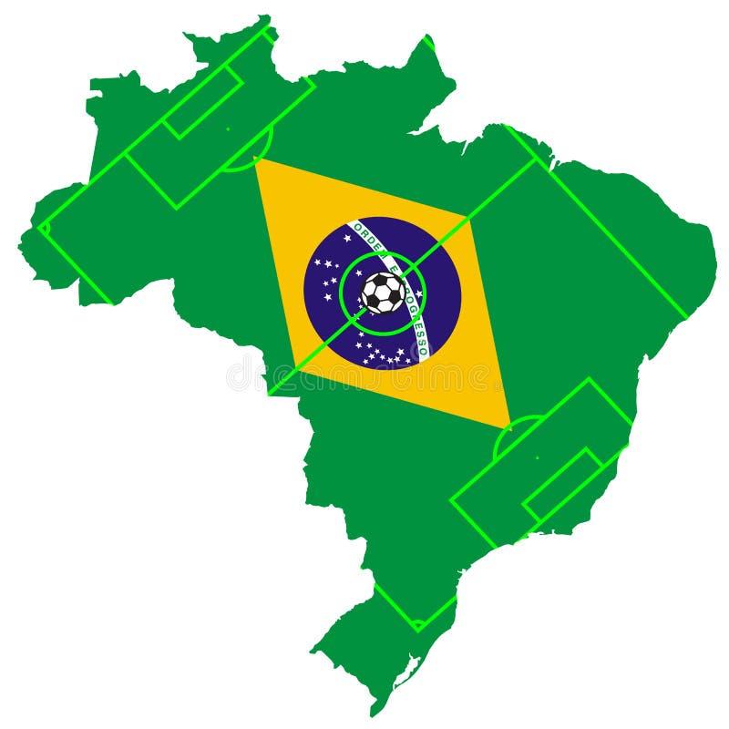 巴西的足球和旗子传染媒介与地图的 免版税图库摄影