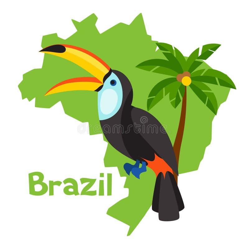 巴西的风格化地图有toucan和棕榈树的 库存例证